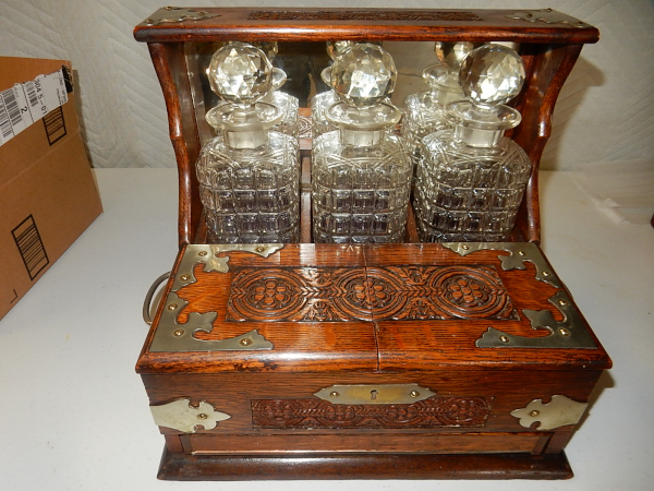 Antique Decanter Set In Wood Box