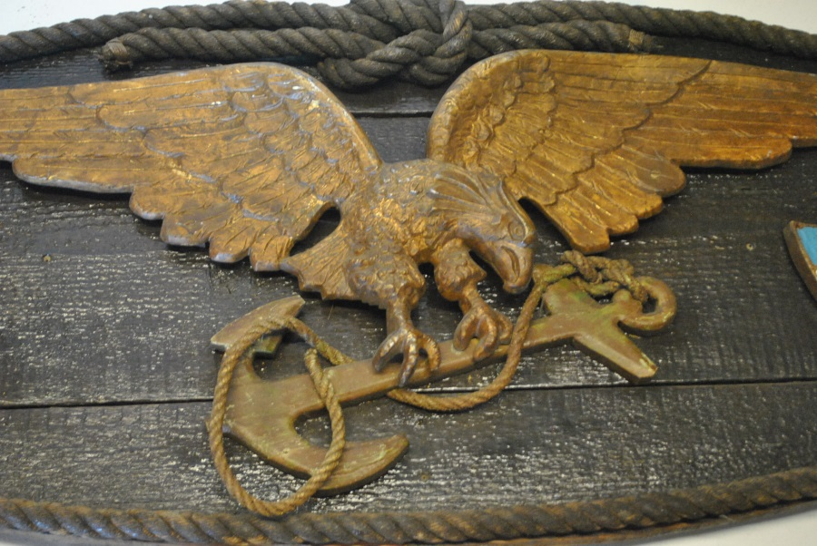 Antique Cast Metal Flying Eagle Plaque