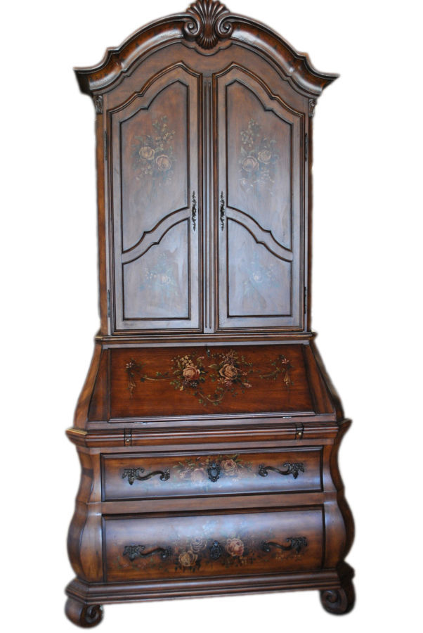 Ethan Allen Rose Bombe Bookcase Secretary - Antique Appraisal Services Four Seasons Auction Gallery